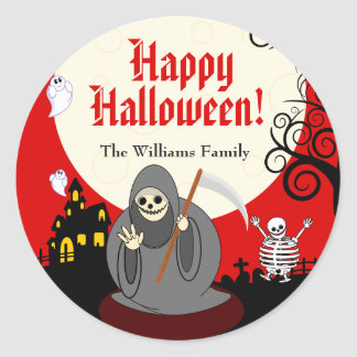 Fun cartoon full moon Halloween Death scene, Classic Round Sticker