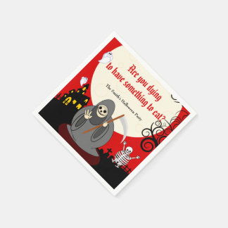 Fun cartoon full moon Halloween Death scene, Paper Napkin