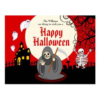 Fun cartoon full moon Halloween Death scene, Postcard