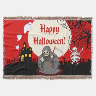 Fun cartoon full moon Halloween Death scene, Throw Blanket