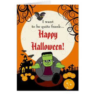 Fun cartoon full moon Halloween Frankenstein scene Card