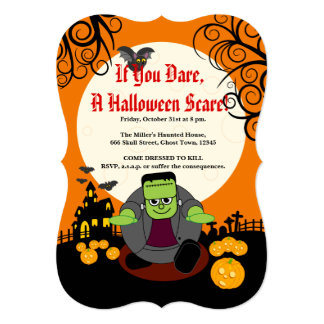 Fun cartoon full moon Halloween Frankenstein scene Card