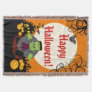 Fun cartoon full moon Halloween Frankenstein scene Throw Blanket
