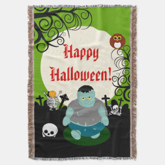 Fun cartoon full moon Halloween Frankenstein scene Throw Blanket