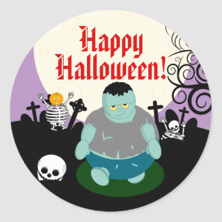 Fun cartoon full moon Halloween zombie scene, Classic Round Sticker