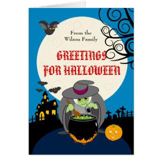 Fun cartoon full moon scary Halloween witch scene, Card