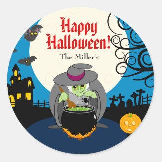Fun cartoon full moon scary Halloween witch scene, Classic Round Sticker