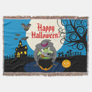 Fun cartoon full moon scary Halloween witch scene, Throw Blanket