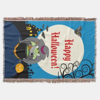 Fun cartoon full moon scary Halloween witch scene, Throw Blanket