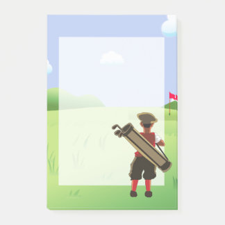 Fun cartoon Golfer on golf course Post-it Notes