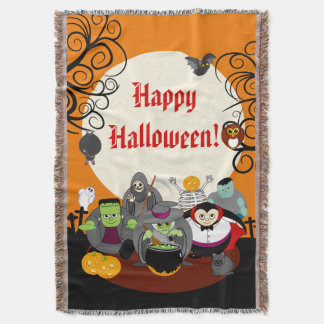 Fun cartoon Halloween monster costume party group, Throw Blanket