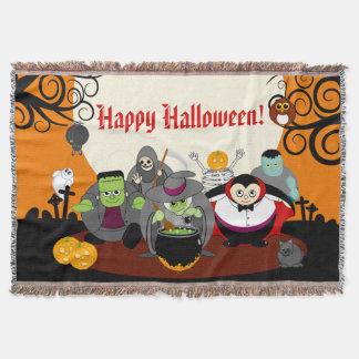 Fun cartoon Halloween monster costume party group, Throw Blanket