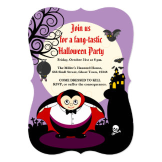 Fun cartoon Halloween vampire Dracula scene, Card