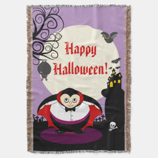 Fun cartoon Halloween vampire Dracula scene, Throw Blanket