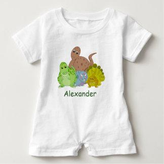 Fun cartoon of a group of Jurassic dinosaurs, Baby Bodysuit