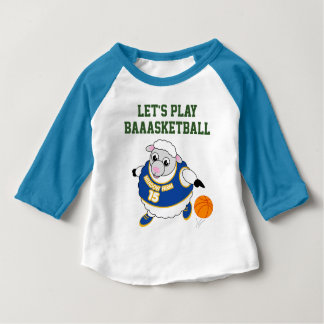 Fun cartoon of a sheep dribbling a basketball, baby T-Shirt
