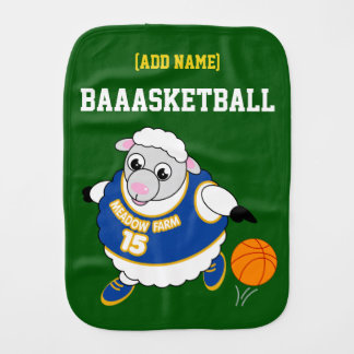 Fun cartoon of a sheep dribbling a basketball, burp cloth