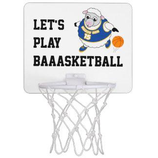 Fun cartoon of a sheep dribbling a basketball, mini basketball hoop