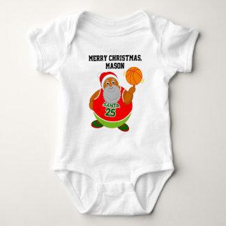 Fun cartoon of Black Santa spinning a basketball, Baby Bodysuit