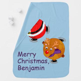 Fun cartoon of Santa Claus & Rudolph ice skating, Baby Blanket