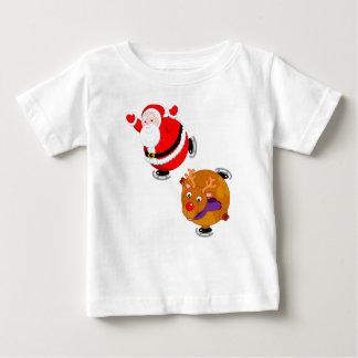 Fun cartoon of Santa Claus & Rudolph ice skating, Baby T-Shirt