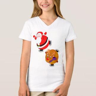 Fun cartoon of Santa Claus & Rudolph ice skating, T-Shirt