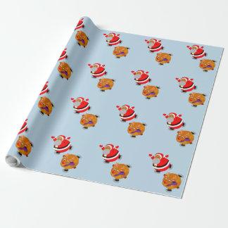 Fun cartoon of Santa Claus & Rudolph ice skating, Wrapping Paper