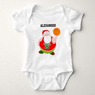 Fun cartoon of Santa Claus spinning a basketball, Baby Bodysuit