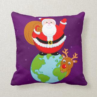 Fun cartoon of Santa Claus standing on the Earth, Cushion