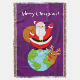 Fun cartoon of Santa Claus standing on the Earth, Throw Blanket