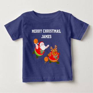 Fun cartoon of Santa & Rudolph playing basketball, Baby T-Shirt