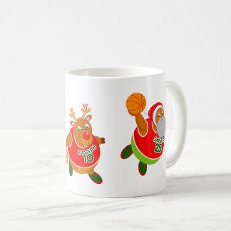 Fun cartoon of Santa & Rudolph playing basketball, Coffee Mug