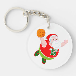 Fun cartoon of Santa & Rudolph playing basketball, Key Ring