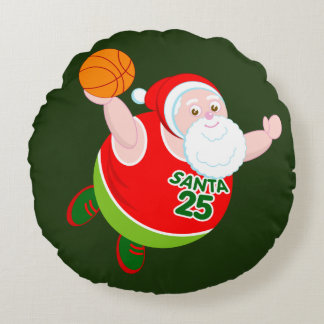 Fun cartoon of Santa & Rudolph playing basketball, Round Cushion