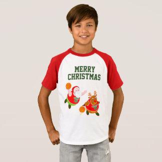 Fun cartoon of Santa & Rudolph playing basketball, T-Shirt