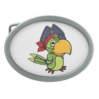 Fun Cartoon Pirate Parrot Oval Belt Buckles