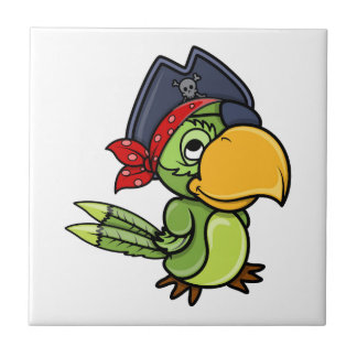 Fun Cartoon Pirate Parrot Small Square Tile