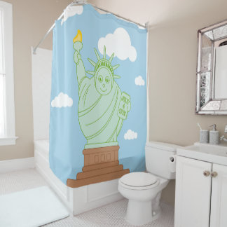 "Fun cartoon ""Statue of Liberty"", Shower Curtain"