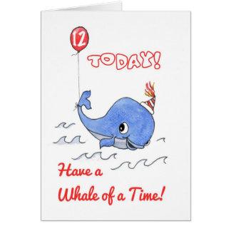 Fun Cartoon Whale and Balloon 12th Birthday Card