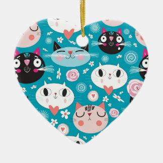 Fun Cat Faces Ceramic Heart Decoration