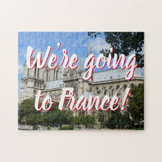 Fun Cathedral of Notre Dame in Paris Announcement Jigsaw Puzzle