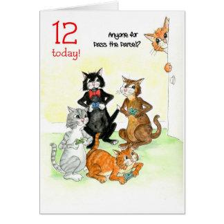 Fun Cats Playing Video Game 12th Birthday Card