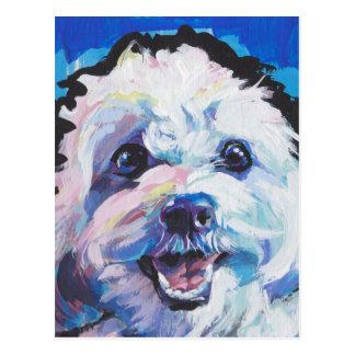 Fun Cavachon Dog bright colorful Pop Art painting Postcard