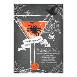 Fun Chalkboard Spooky Halloween Cocktail Party Card