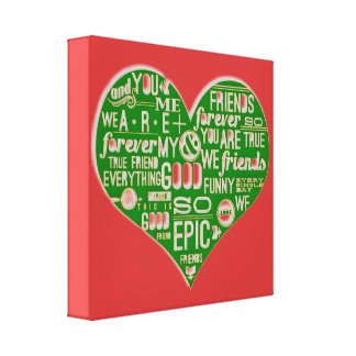 Fun chic Love Red green healinglove customize Gallery Wrapped Canvas