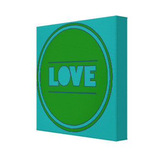 Fun chic Love teal green healinglove customize Gallery Wrapped Canvas
