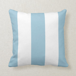 Fun Chic Pastel Blue Bold Mod Stripes Pattern Throw Pillow