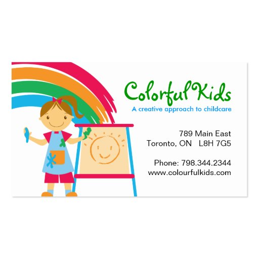 Fun Childcare Business Cards