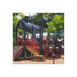 Fun Children's Train Playground In The Park Canvas Print