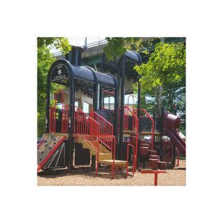 Fun Children's Train Playground In The Park Canvas Print